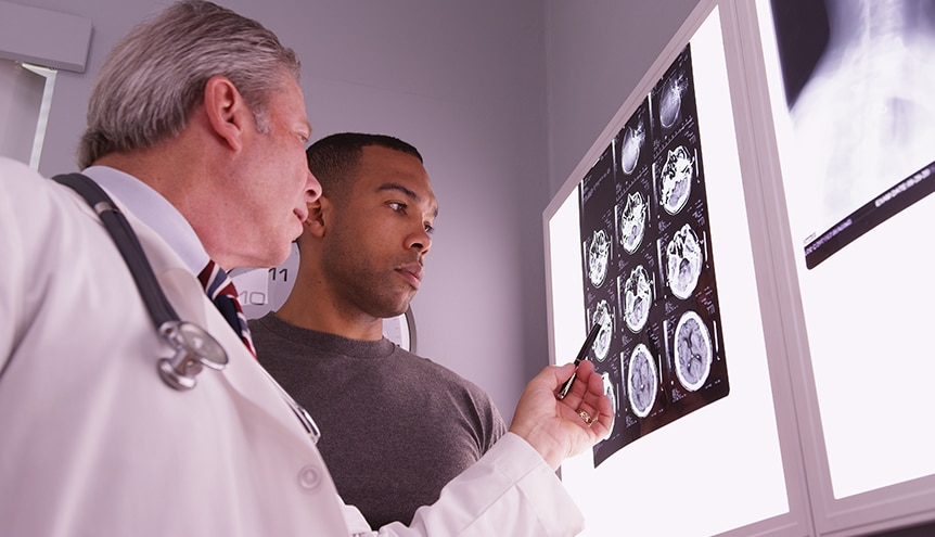 Viewing traumatic brain injury xray